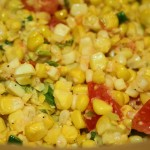 Summer corn salad with tomatoes and green onions