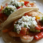 Soft Shrimp Tacos with Avocado Tomato Salad