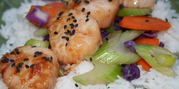 Hoisin sauce flavors sea scallops