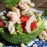 Avocado filled with shrimp ceviche