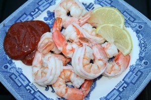 Poached Shrimp with Cocktail Sauce