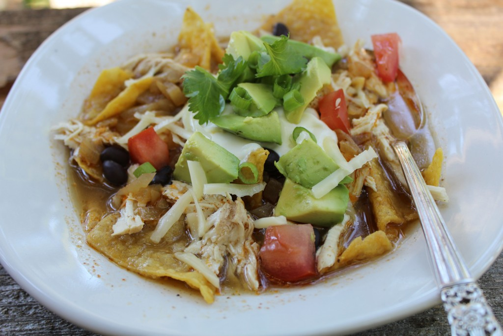 Fast and delicious tortilla soup with all the fixin's.