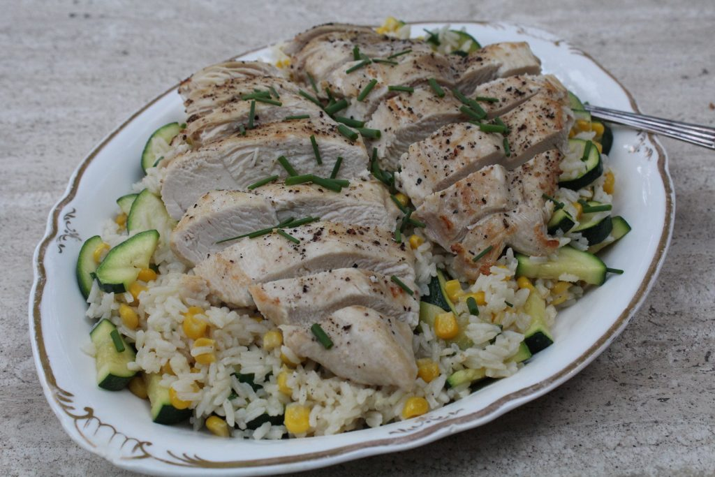chicken with garden fresh rice and vegetables